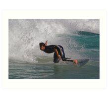 Surfer Turning Sharply Art Print