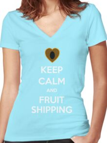 Keep Calm and Fruitshipping! Women's Fitted V-Neck T-Shirt