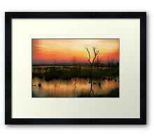 Sunset in the Wetland Fochteloerveen Framed Print