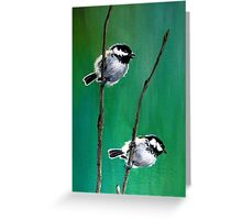 Coal Tits on Mountain Ash Greeting Card