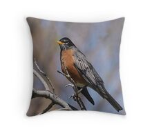 Red is for My Robin Friend Throw Pillow