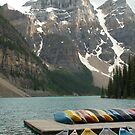 Moraine Lake w canoes by JimSanders