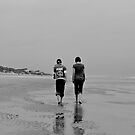Beach Walk B&W by NikonJohn