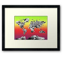 World Map landmarks 4 Framed Print