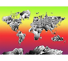 World Map landmarks 4 Photographic Print