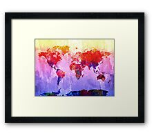 World Map watercolor 2 Framed Print