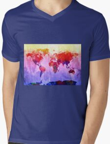 World Map watercolor 2 Mens V-Neck T-Shirt