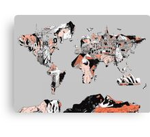 World Map landmarks 6 Canvas Print