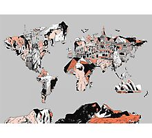 World Map landmarks 6 Photographic Print