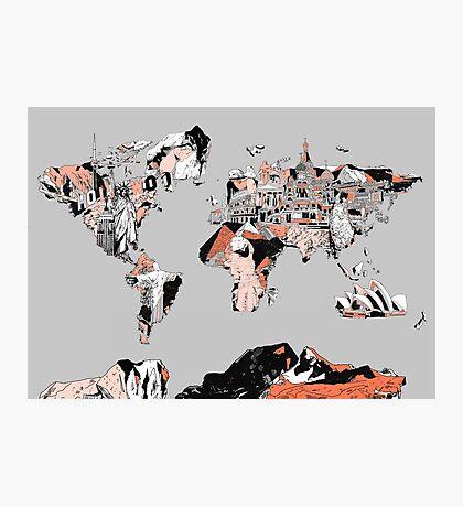 World Map landmarks 6 Photographic Print