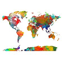 World Map watercolor 4 Photographic Print