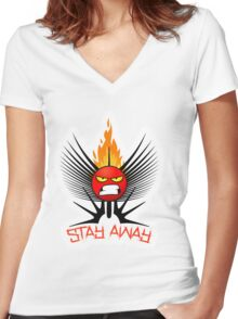 stay away  Women's Fitted V-Neck T-Shirt