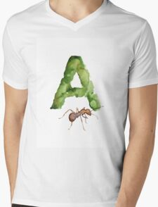 Ant watercolor alphabet painting Mens V-Neck T-Shirt