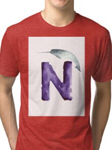 Narwahl watercolor alphabet painting Tri-blend T-Shirt
