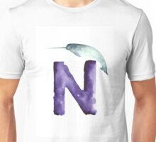 Narwahl watercolor alphabet painting Unisex T-Shirt