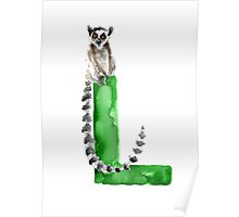 Lemur watercolor alphabet painting Poster