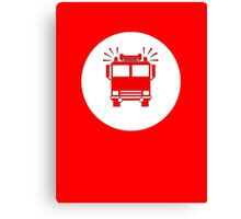 Sam, John, Sarah - Fireman's T-Shirt - Fire Truck Sticker Canvas Print