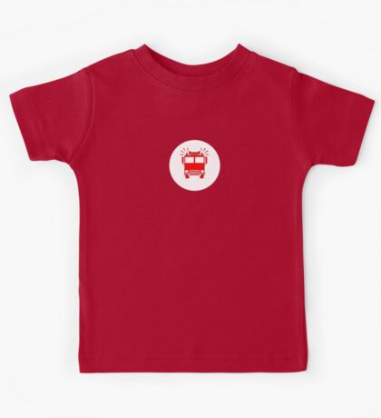 Sam, John, Sarah - Fireman's T-Shirt - Fire Truck Sticker Kids Tee