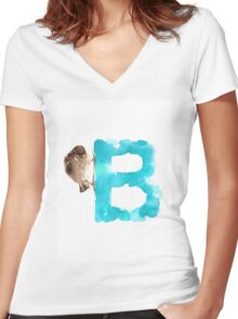 Sparrow watercolor alphabet painting Women's Fitted V-Neck T-Shirt