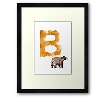 Watercolor alphabet bear poster Framed Print