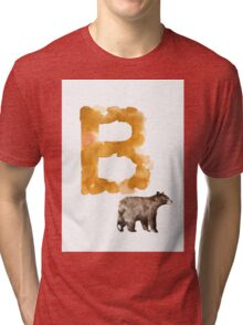 Watercolor alphabet bear poster Tri-blend T-Shirt