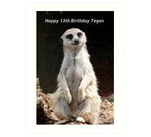 Happy 13th Birthday Tegan Art Print
