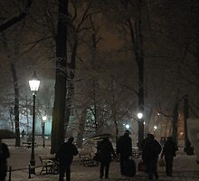 Winter Scene at night, Krakow by Louise Brookes
