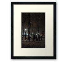 Winter Scene at night, Krakow Framed Print