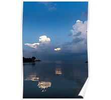 Cool Pearly Clouds Over the Lake Poster