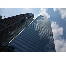 Sky and Sky - Toronto Skyscraper Reflecting Fluffy White Clouds Photographic Print