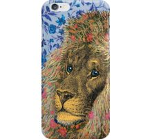 Peaceful Lion Against Floral Background iPhone Case/Skin