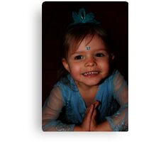 Little Girl In Blue Canvas Print