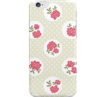 Shabby Chic, Polka Dots, Roses - Beige Red Green  iPhone Case/Skin