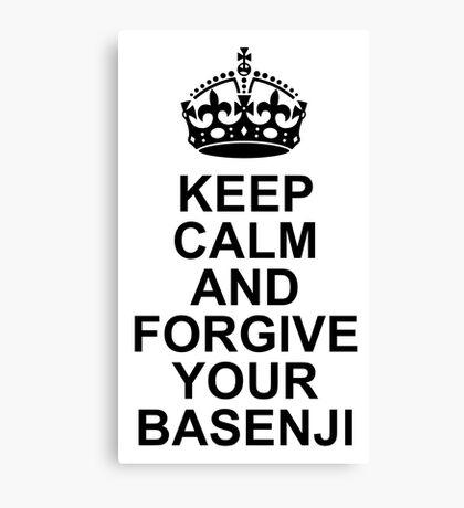 Keep Calm Basenji With Crown Canvas Print