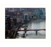 Toy London Bus over the Thames Art Print