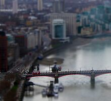 Toy London Bus over the Thames by blindskunk
