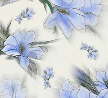 Flowers, Petals, Leaves, Blossoms - Green Blue by sitnica