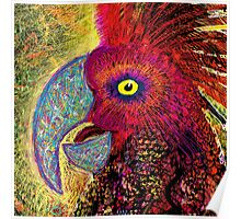 Brightly-coloured Parrot Speaks Poster