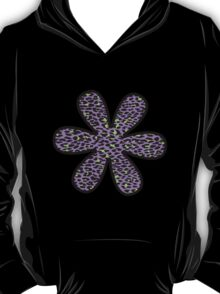 Flower, Animal Print, Spotted Leopard - Purple Green  T-Shirt