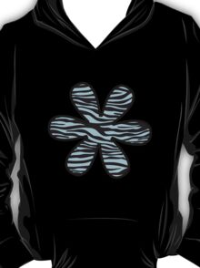 Flower, Animal Print, Zebra Stripes - Black Blue  T-Shirt