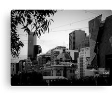 City and Leaves Canvas Print