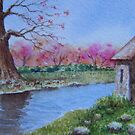 """Miniature Series """"The Stables by the Creek"""" by Fiona  Lee"""