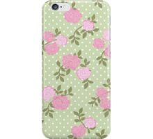 Shabby Chic, Polka Dots, Roses - Pink Green  iPhone Case/Skin