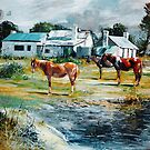 Horses by the Cottages - Allendale East, South Aust   by Tanya Zaadstra