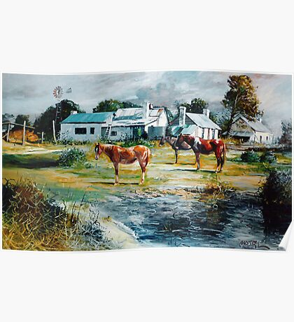 Horses by the Cottages - Allendale East, South Aust   Poster