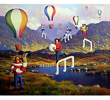 Connemara   Landscape with musicians balloons and notes Photographic Print