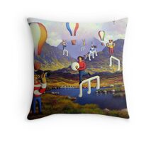 Connemara   Landscape with musicians balloons and notes Throw Pillow