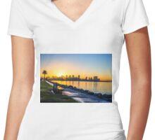 HARBOR SUNRISE Women's Fitted V-Neck T-Shirt