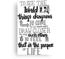 Walter Mitty Life Motto - Black Canvas Print