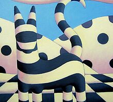 Genetic cat 2 in polkascape with tiles by Alan Kenny